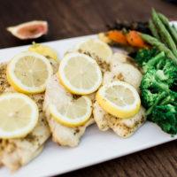 lemon pepper mahi and seasonal vegetables