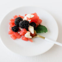 Watermelon, feta and blackberry salad