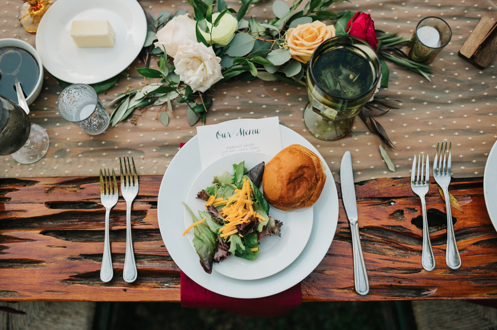 family style dining at a rehearsal dinner- two chicks and a pot catering - Florida fresh