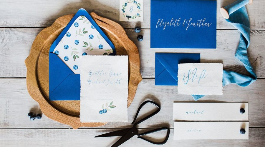 wo chicks and a pot - rockledge caterer- space coast caterer - melbourne caterer - ever after farms - harmony lynn photography- blueberry themed stationery
