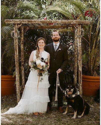 dog friendly weddings near Vero beach - bride and groom with dog - rustic outdoor wedding venue near Vero beach