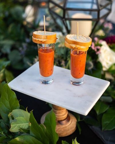 Two Chicks and a Pot – Dragonfly Farms – Palm Bay Wedding Venue – Palm Bay Caterer - tomato soup and grilled cheese